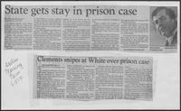 "Newspaper clipping headlined ""State gets stay in prison case"", June 27, 1981"