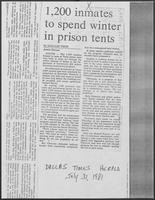 "Newspaper clipping headlined ""1,200 inmates to spend winter in prison tents"", July 31, 1981"