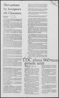 "Newspaper clipping headlined ""TDC plans 960-man prison unit,"" August 22, 1981"