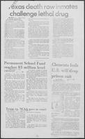 "Newspaper clipping headlined, ""Clements feels U.S. will drop prison suit,"" September 18, 1981"