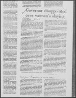 "Newspaper clipping headlined ""Governor disappointed over woman's slaying"", October 24, 1981"