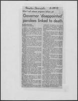 "Newspaper clipping headlined ""Governor 'disappointed' parolees linked to death"", October 24, 1981"