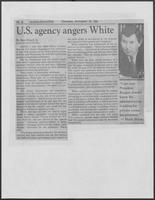 "Newspaper clipping headlined, ""US agency angers White,"" November 19, 1981"
