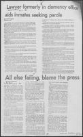 "Newspaper clipping headlined ""Lawyer formerly in clemency office aids inmates seeking parole,"" December 6, 1981"