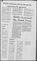 "Newspaper clippings headlined ""White announces bid for Democratic nomination for governor"" and ""Hobby is named Mr. South Texas,"" December 17, 1981"