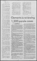 "Newspaper clipping headlined ""Clements is reviewing 1,200 parole cases,"" May 15, 1982"