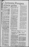 "Newspaper clipping headlined ""Clements: Reopen prison gates,"" May 14, 1982"