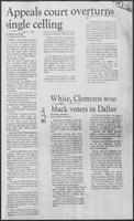 "Newspaper clipping headlined ""White, Clements woo black voters in Dallas,"" June 24, 1982"