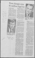 "Newspaper clipping headlined ""Firm charges state $1 million legal fee,"" July 1, 1982"