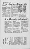 "Newspaper clipping headlined, ""White blames Clements for Mexico's aid refusal,"" August 25, 1979"