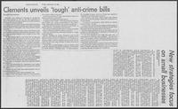 "Newspaper clipping headlined ""Clements unveils 'tough' anti-crime bills,"" September 19, 1980"