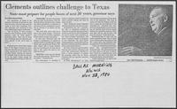 "Newspaper clipping headlined ""Clements outlines challenge to Texas,"" November 11, 1980"