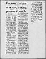 "Newspaper clipping headlined ""Forum to seek ways of easing prison crunch"", February 27, 1988"