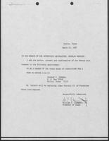 Appointment letter from William P. Clements to the Senate of the 71st Legislature, March 24, 1987