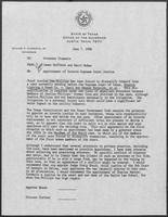 Letter from James Huffines and Barry McBee to William P. Clements, June 7, 1988