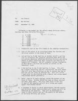 Memo from Ben Gallant to Jim Francis containing budget breakdown for outreach to Christian voters, September 13, 1982