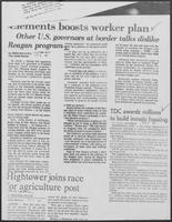 "Newspaper clipping titled ""Clements boosts worker plan"", October 6, 1981"