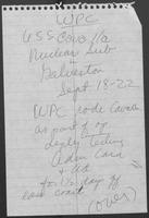 Note describing William P. Clements, Jr., inspection of USS Cavallia in Galveston, Texas, September 18, 1978
