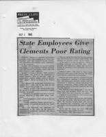 "Newspaper clipping headlined, ""State employees give Clements poor rating,"" McAllen Valley Evening Monitor, September 1, 1982"