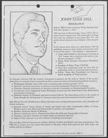 Campaign materials for John Luke Hill including comparison to William P. Clements, Jr.