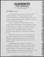 Press release from Clements for Governor regarding campaign staff, June 1, 1978