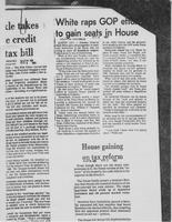 "Newspaper clipping headlined, ""White raps GOP efforts to gain seats in House,"" August 5, 1981"