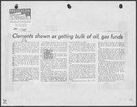 "Newspaper clipping headlined, ""Clements shown as getting bulk of oil, gas funds,"" April 12, 1982"