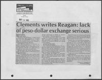 "Newspaper clipping headlined, ""Clements writes Reagan: lack of peso-dollar exchange serious,"" October 19, 1982"