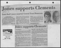 "Newspaper clipping headlined, ""Jones supports Clements--Lame duck's move surprises Central Texas Democrats,"" September 24, 1982"