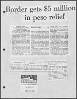 "Newspaper clipping headlined ""Border gets $5 million in peso relief,"" El Paso Times, August 25, 1982"