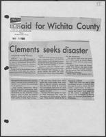 "Newspaper clipping headlined: ""Clements seeks disaster aid for Wichita County"", May 20, 1982"