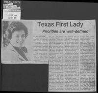 "Newspaper clipping headlined ""Texas First Lady: Priorities are well-defined,"" October 30, 1980"