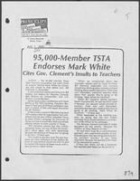 "Newspaper clipping headlined, ""95,000-Member TSTA Endorses Mark White"",August 5, 1982"