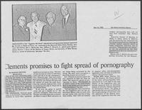"Newspaper clipping headlined, ""Clements promises to fight spread of pornography,"" May 16, 1980"