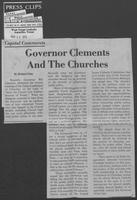 "Newspaper clipping headlined, ""Governor Clements and the churches,"" March 18, 1979"