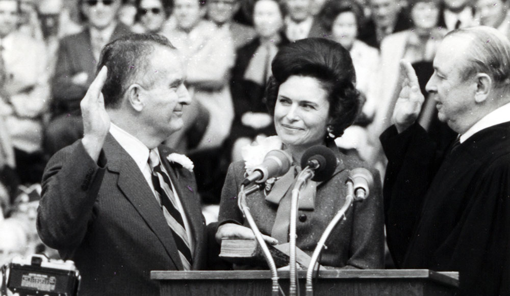 William Clements Jr. being sworn in as the 42th governor of Texas with his wife Rita by his side, January 1979.