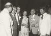 Reception at Border Governors Conference in Brownsville, TX, June 1979. Harlingen Mayor Bob Youker at left; US Ambassador to Mexico Patrick Lucey, Governor Bruce King of New Mexico, Governor and Mrs. Clements, and Bill Perrin of Brownsville. [e_cle_007092]